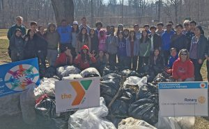 A group of volunteers worked together to pick up trash in the community